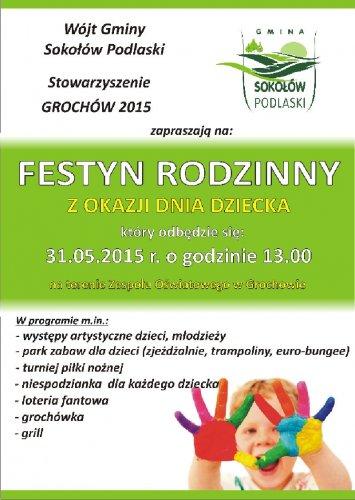 Festyn Rodzinny zokazji Dnia Dziecka na terenie Zespołu Oświatowego  wGrochowie